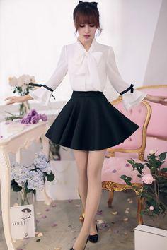 Japanese Fashion - Bow 7 points horn sleeve loose chiffon shirt - AddOneClothing - 4