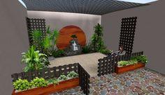 ideas decoraciones para jardines pequeños: cerca de madera, macetas, fuente