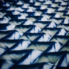 Lovely little mountains. Indigo dyed, shibori technique by Blueplus.Dye