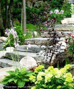 Garten Stufen, Garten Pflaster, Vorgarten Anlegen, Hang Landschaftsbau, Landschaftsbau  Ideen, Steinstufen, Garten, Treppen, Zufahrten, Terrasse, Blumen
