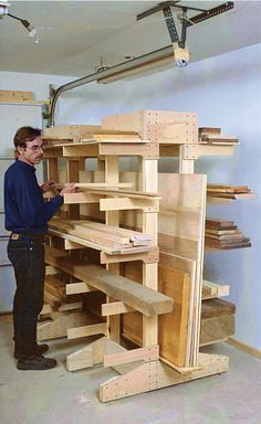Hermit House Woodworking: Modular freestanding racks to hold both lumber and plywood. You can place the racks anywhere without tying them into your shop structure. Because the racks are modular, you can make as many as you like to hold whatever lengths of lumber you commonly use. The 71⁄2-in.-wide center section accommodates sheet goods. (From: Smart Workshop Solutions: Building Workstations, Jigs, and Accessories to Improve Your Shop by Paul Anthony (Taunton Press - ISBN-13…