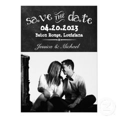 Chalkboard Save the Date Announcements