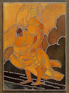 Cloisonné afbeelding van Kakatoe ontwerp uitvoering Marie C.Kuyken in eigen atelier ca.1925