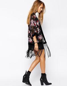 Enlarge Parisian Rose Kimono with Velvet Border