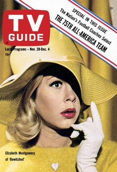 """TV Guide, November 1964 - Elizabeth Montgomery of """"Bewitched"""", which premiered September 1964 Agnes Moorehead, Bewitched Tv Show, Style Année 60, 1960s Style, Bewitched Elizabeth Montgomery, Nostalgia, All Tv, Vintage Tv, Vintage Magazines"""