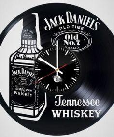Jack Daniel's Old Time Handmade Vinyl Record Wall Clock Vinyl Record Crafts, Vinyl Record Clock, Record Wall, Vinyl Art, Records Diy, Old Vinyl Records, Clock Art, Diy Clock, Jack Daniels