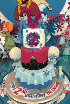 Triple decker Frozen girl birthday cake!  See more party ideas at CatchMyParty.com!