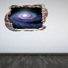 Full Colour Galaxy Smashed Wall 3D Effect Outer Space Galaxy Bedroom Wall Sticker Decal Kids Bedroom & 3D Space Wall Decal Cracked Hole Space Galaxy Stars Full Colour Wall ...