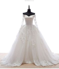 V- Neck Long Sleeve Lace Appliques Ball Gown Wedding Dress