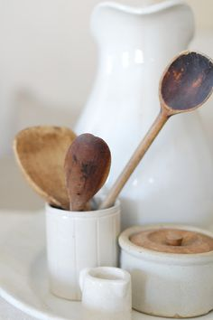 wood spoons & ironstone