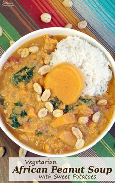 This Vegetarian African Peanut Soup with Sweet Potatoes is a perfect, comforting fall recipe, full of sweet and nutty flavors. | www.CuriousCuisiniere.com