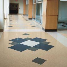 Kitchen floor - gray with black - Mannington Commercial Vinyl Composition Tile Aquaguard Flooring, Unique Flooring, Bedroom Flooring, Floors, Vct Tile, Tile Floor, Terrazzo, Floor Patterns, Tile Patterns