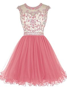 Tideclothes Short Beading Prom Dress Tulle Evening Dress ...