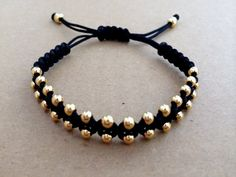 Gold Plated Beads Macrame Bracelet Friendship Bracelet