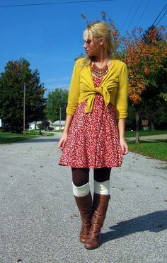 Not a huge fan of the tied sweater look but I love the colors here and the style of all of it.