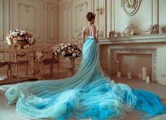 Bohemian Wedding Dress / Two Piece Wedding Dress / Corset Sky Blue Hand Painted Tulle Wedding Dress Two Piece Wedding Dress, Wedding Skirt, Blue Wedding Dresses, Bohemian Wedding Dresses, Tulle Wedding, Blue Dresses, Sparkle Wedding, Pretty Dresses, Beautiful Dresses