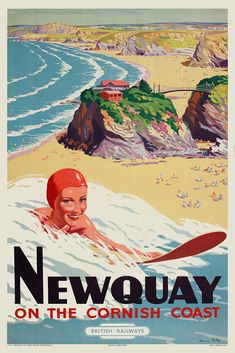 Vintage 1950s travel #poster surfing newquay #cornwall beach retro print #picture,  View more on the LINK: 	http://www.zeppy.io/product/gb/2/252630840894/