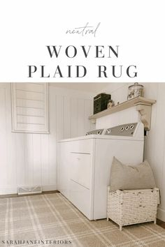 Neutral Plaid Rug | Sarah Jane Interiors | Shop Favorites Farmhouse Area Rugs, Laundry Room Rugs, Grey Shelves, Shop Interiors, White Plaid, Cool Patterns, Woven Rug, Storage Solutions, Neutral