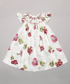 White & Red Flower Bishop Dress - Infant | Daily deals for moms, babies and kids
