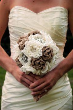 Burlap Wedding Bouquet   Fabric Bridal Bouquet   Rustic Wedding Bouquet…