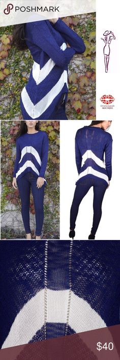 """High Low Lightweight Sweater Midnight blue with white stripes sweater. Modern design with longer sides. Gorgeous lightweight knit. 100% acrylic. Size: S/M. Length: 30""""-sides, 19""""-front and back. Chest: 18"""". Boutique Sweaters Crew & Scoop Necks"""