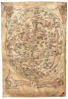 Mapa do Imago Mundi de Honorius de Autum - 12th century world map
