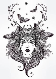 Hand drawn beautiful artwork of female shaman portriat. Alchemy, religion, spirituality, occultism, tattoo art, coloring books. Isolated vector illustration. photo