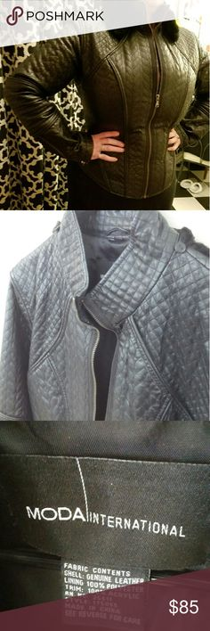 Fall is Coming!! Quilted leather jacket Gorgeous detail in this black quilted real leather jacket. Zip front and cuffs. Motorcycle motocross style. Has a detachable faux fur collar. Purchased from Victoria Secret catalog, worn twice. Size large. Fits a 12-14. Moda International Jackets & Coats