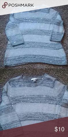 Sequence 3/4 sleeve knit sweater Dark and light grey with sparkle sequence though out CJ Banks Sweaters
