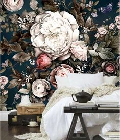 Nordic Vintage Flower Wallpaper Mural Art Wall Decals Wall Decor Printed Photo Floral Wall Paper Rolls Contact Paper for Living Room Wallpaper Bedroom Vintage, Vintage Flowers Wallpaper, Home Wallpaper, Flower Wallpaper, Flower Mural, Flower Backdrop, Blue Drawings, Flower Garden Design, Floral Garland