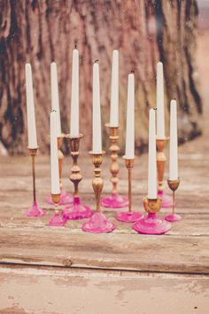 gold and pink candlesticks | Photo by One Summer Day Photo | Read more - http://www.100layercake.com/blog/?p=73422