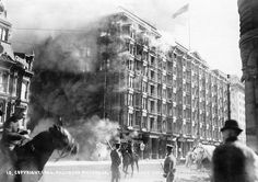 """Less than twelve hours after the massive 1906 Earthquake, which led to three days of fires throughout San Francisco, the """"fireproof"""" Palace Hotel begins to burn. Eventually more than 512 city blocks and 28,000 buildings were destroyed in the firestorm. The ruins of the Palace were razed and the hotel was rebuilt and re-opened in 1909."""