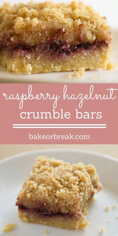 Raspberry Hazelnut Crumble Bars are a buttery, nutty, fruity favorite! - Bake or Break ~ http://www.bakeorbreak.com