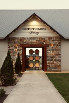 Keith Tulloch Winery at Pokolbin - Hunter Valley, Australia.  Surely I can have a little bit of stone work on the metal sheds?