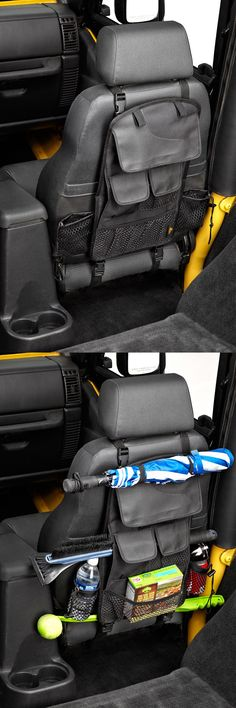 A great idea for car organization and storage! This custom seat back organizer fits on the back of the front seat and features adjustable cup holders and multiple pockets. One of the best accessories for road trips! Compatible with Jeep.