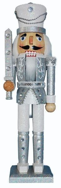 15 inch Nutcracker with Silver & White Glitter and Hat - Retail - Nutcracker Ballet Gifts