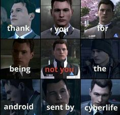 I mean, he's exactly like Connor while machine. The only difference is that Connor got a chance to be deviant. Detroit Being Human, Detroit Become Human Connor, Dechart Bryan, Luther, Quantic Dream, Becoming Human, I Like Dogs, A Silent Voice, Cartoon Games