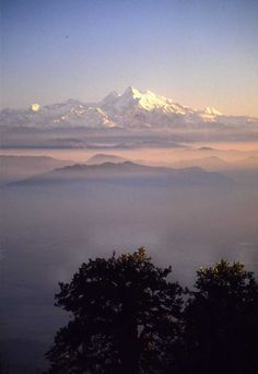 Nepal Valley Dawn Mist and mountains