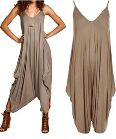 Strappy Harem Jumpsuit in Mocha. (I have this style from UO in Sage, Black, and Burgundy. I might be mildly obsessed with this cut.Ladies Baggy Harem Jumpsuit Romper Sleeveless All In One V-Neck Cami PlaysuitWomen S Fashion Queen Street Mall Hi from Cheap Clothes Uk, Cheap Clothing Websites, Clothes For Women, Boho Fashion, Fashion Outfits, Womens Fashion, Grey Fashion, Mode Hippie, Casual Outfits