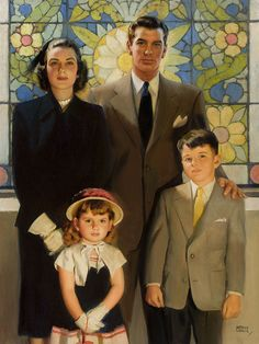 """Going to Church. Oil on canvas 32x24"""" by Andrew Loomis (American 1892-1959). We never debated on Sunday morning whether we were attending church or not. It was a staple in our families that gave us faith and hope. And respect was shown in God's house..."""