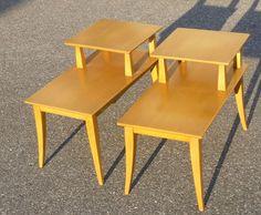 NEAR MINT PAIR HEYWOOD WAKEFIELD STEP END TABLES   WHEAT   M 1704 G
