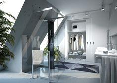 salle de bains sous combles équipée d'un chauffe-eau plat Malicio #chauffeeauplatthermor