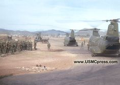 H-46 helicopters in Phu Bai loading up Marines for a strike on Quang Tri during the Viet Nam war.