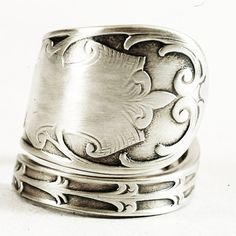 Antique Etched Scrolling Rococo Design Sterling Silver by Spoonier