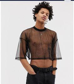 ASOS DESIGN - T-shirt crop top oversize en maille étincelante - Noir Mens Crop Top, T Shirt Crop Top, Mesh T Shirt, Sheer Shirt, Men In Crop Tops, Foto Fashion, Queer Fashion, Mens Fashion, Cropped Tops