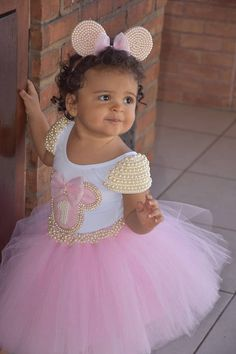 ideas for crochet baby vestidos tutus Tutu Minnie, Minnie Mouse Pink, Minnie Mouse Theme Party, Minnie Mouse Birthday Outfit, Girls Tutu Dresses, Flower Girl Dresses, Ballerina Birthday, Foto Baby, Baby Dress