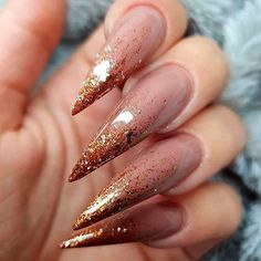 40 Chic And Trendy Acrylic Stiletto Nails Designs In 2019 Acrylic Stiletto Nails;Stiletto Nails Designs In are stiletto nails designs and colors to choose . Pick out what you like to dress up in! Stiletto Nail Art, Cute Acrylic Nails, Cute Nails, Trendy Nails, Nail Art Designs, Ombre Nail Designs, Gold Nails, Glitter Nails, Gold Glitter