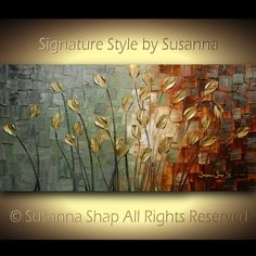 ORIGINAL Abstract Contemporary CAMO Heavy Texture Brown Grey Tulips Painting Palette Knife Impasto Landscape by Susanna 48x24 Ready to Hang on Etsy, $375.00