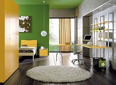 Green Kids Wall Decor With White Fur Rug Yellow Headboard Nightstand Computer Desk Swivel Chairs And Large Yellow Cabinet