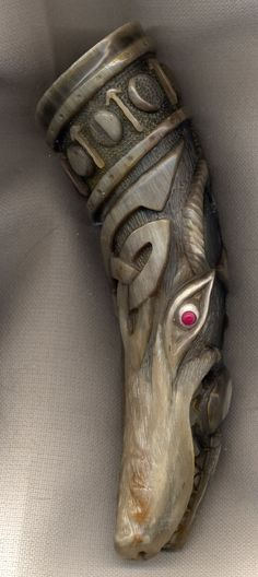 wolf horn with tyr pic2 by Bonecarverpm